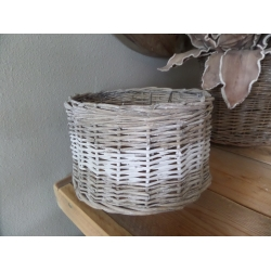 Riet / rattan hanglamp rond + witte band 25 cm.