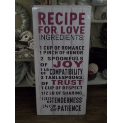 Tekstbord Recipe for love XL